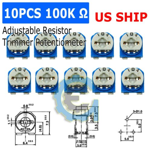 10pcs 100K ohm 104 Adjustable Resistor Trimmer Potentiometer RM065 - US Seller