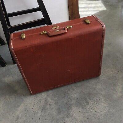 Vintage Leather Samsonite Orange Red Suitcase Luggage