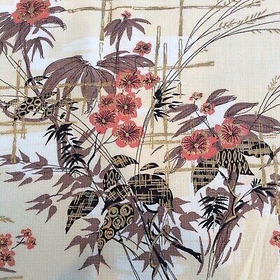 MCM Inspired Asian Flower Bamboo Fabric Material 44 X 80 2 Yards Brown Gold