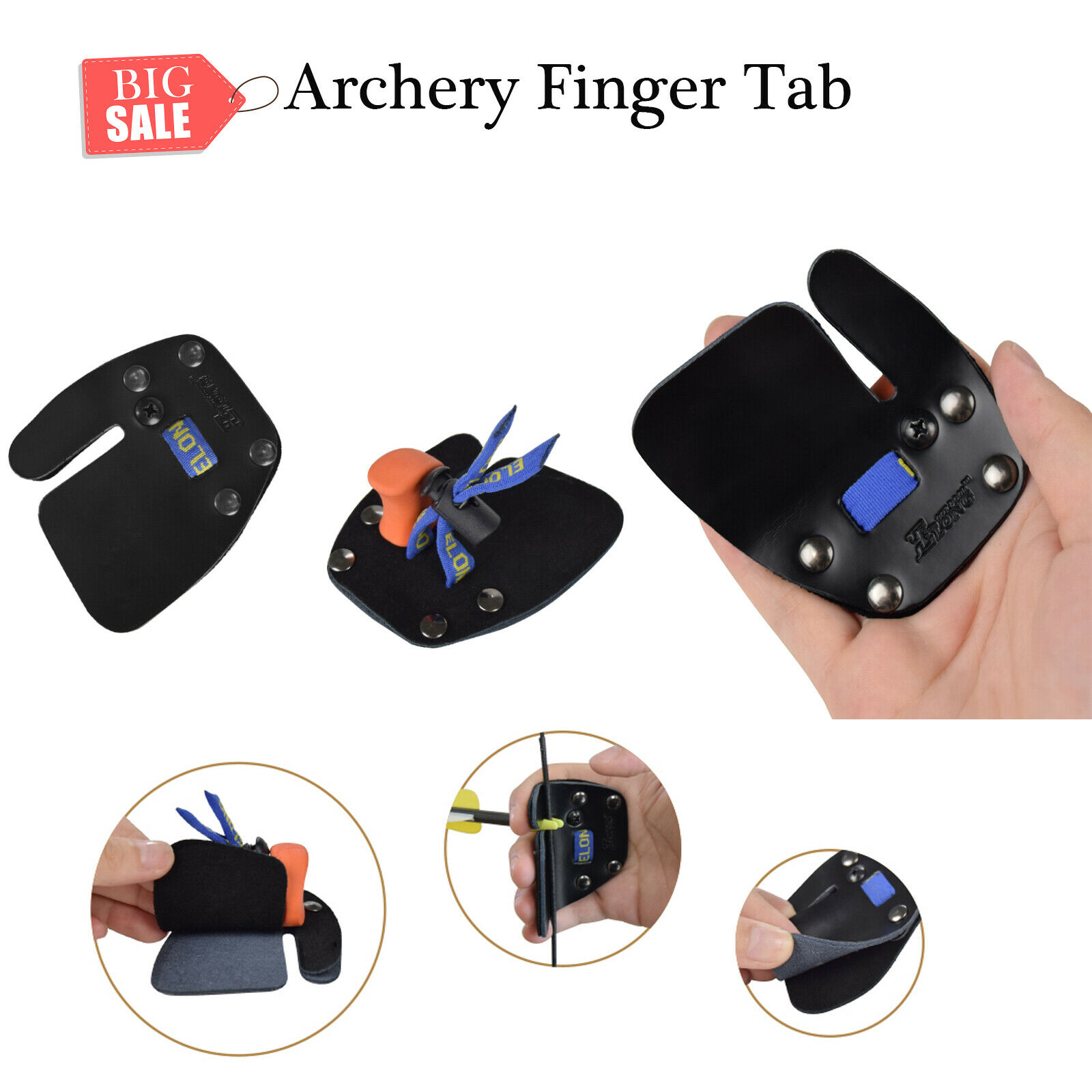 Archery Finger Tab Finger Saver Protect Guard Leather for Recurve Bow Right Hand