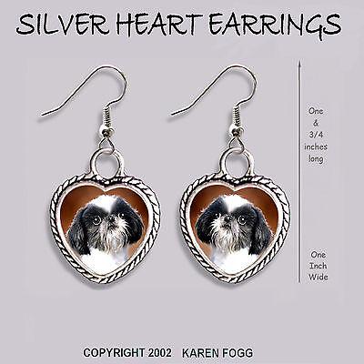 JAPANESE CHIN / SHIH TZU DOG - HEART EARRINGS Ornate Tibetan Silver