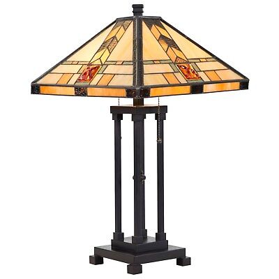 Tiffany Style Lamp Table Lamp Mission Double Lit Design Lighting Home Decor