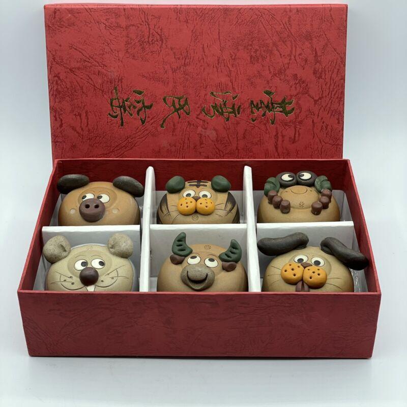Japanese Whimsical Clay Sculpted Animal Face Bottom Saki Tea Cups Box Set Of Six