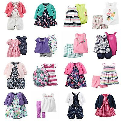 NWT Carters Baby Girl 2-3 Pc Spring Summer Sets Outfit Dress Romper Shorts NB-24