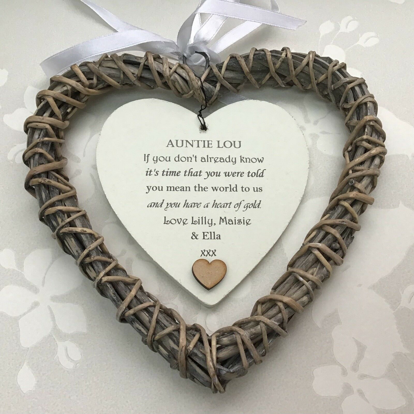 Shabby personalised Chic Special Auntie Aunty Aunt ~ ANY NAME Willow Heart Gift