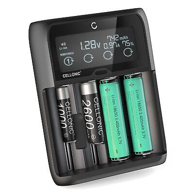 Cargador USB de pilas litio 18650 Cargador AAA AA inteligente4 Slot Pantalla