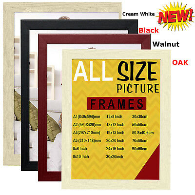 Photo Frame Black White Wood Effect Oak Walnut Modern Poster Flat Picture Frames