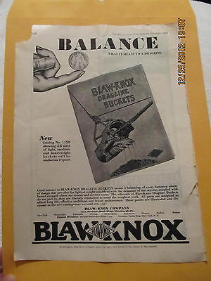 1929 Ad Blaw-knox Dragline Buckets Of Pittsburg Pa Excavating Engineer Magazine