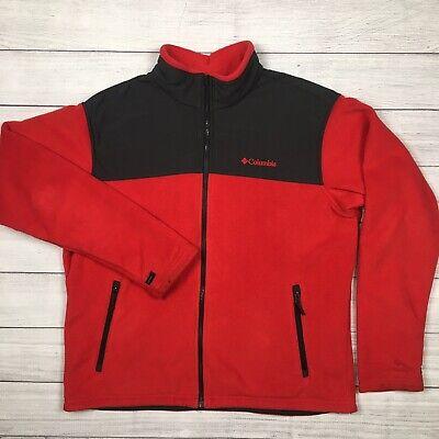 Columbia Mens Size XL Interchange Fleece Jacket Bugaboo Red/Grey Full Zip Pocket Bugaboo Gray Fleece