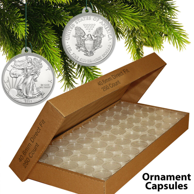 250 Direct Fit 40.6mm CHRISTMAS ORNAMENT Coin Capsules w/Hooks for SILVER EAGLE