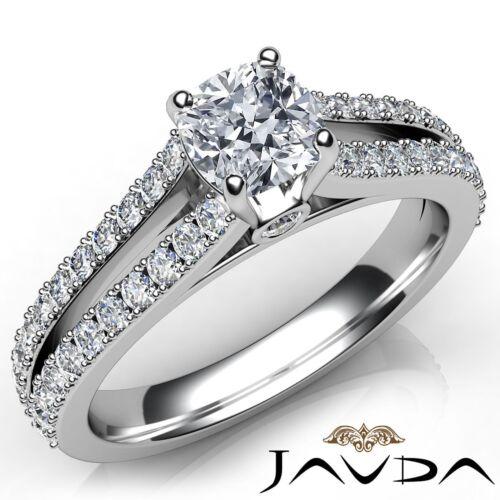Split Shank Cushion Double Prong Diamond Engagement Bezel Ring GIA H VS1 1.15Ct
