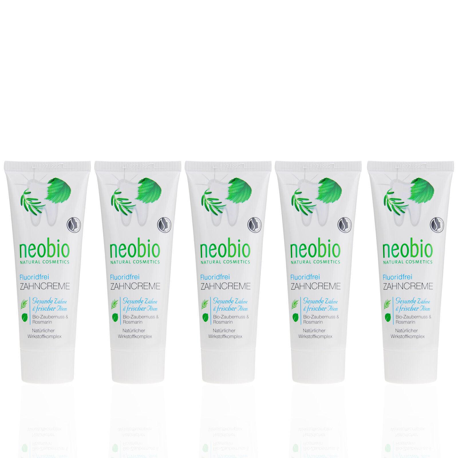 NEOBIO Zahncreme ohne Fluorid (4,53 EUR/100ml) Bio, Vegan, Naturkosmetik 5x75 ml