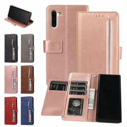 Zipper Leather Flip Wallet Phone Case Cover For Samsung S7 S