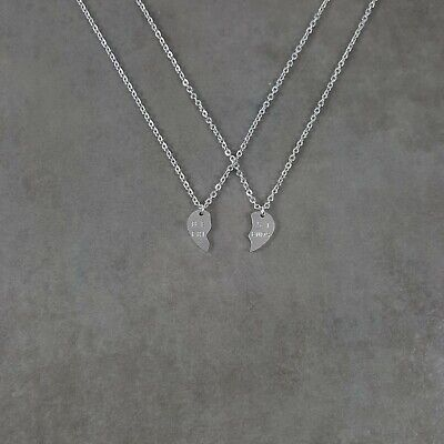 Best Friends SILVER Plated Necklace in Gift Box Two Pieces Heart Love Dual