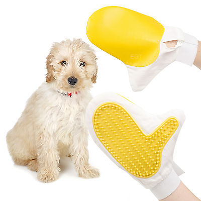 Cat Dog Pet Grooming Mitt Hair Massage Brush Glove Cleaning Ergonomic Hygiene