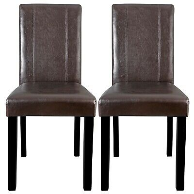 Dining Parson Chair Set of 2 Armless Kitchen Room Brown Leather Backrest Elegant