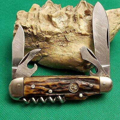 Old Vintage Boker Tree Brand Solingen 182 Bone Stag Camp Utility Pocket Knife...