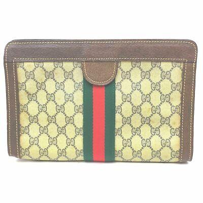 Vintage Gucci Clutch GG Sherry Browns PVC 1402752
