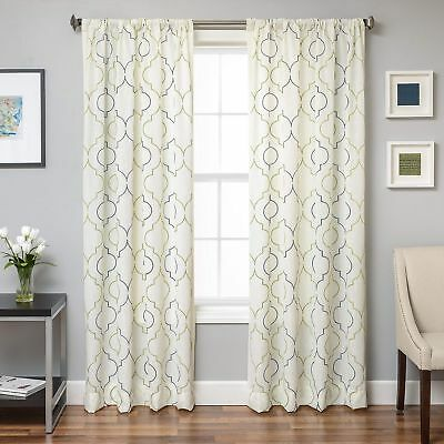 Softline Monza Emboridered Faux Linen Curtain Panel White 96 Inches comprar usado  Enviando para Brazil