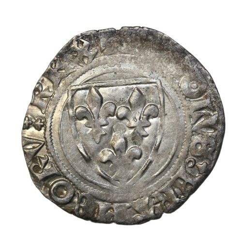 France Charles VI The Mad 1380-1422 AD Silver Blanc Guenar St. Menehould