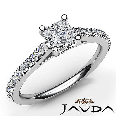 Princess Shape Diamond Engagement French Setting Cathedral Ring GIA F VS2 0.8Ct