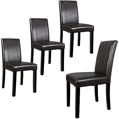 Set of 4 Brown Dining Parson Chair Armless Kitchen Room Leather Backrest Elegant 4 Brown Leather Chairs