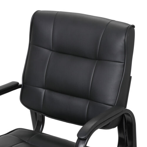 Black Leather Guest Chair Reception Waiting Room Office Desk Side Chairs Classic 9