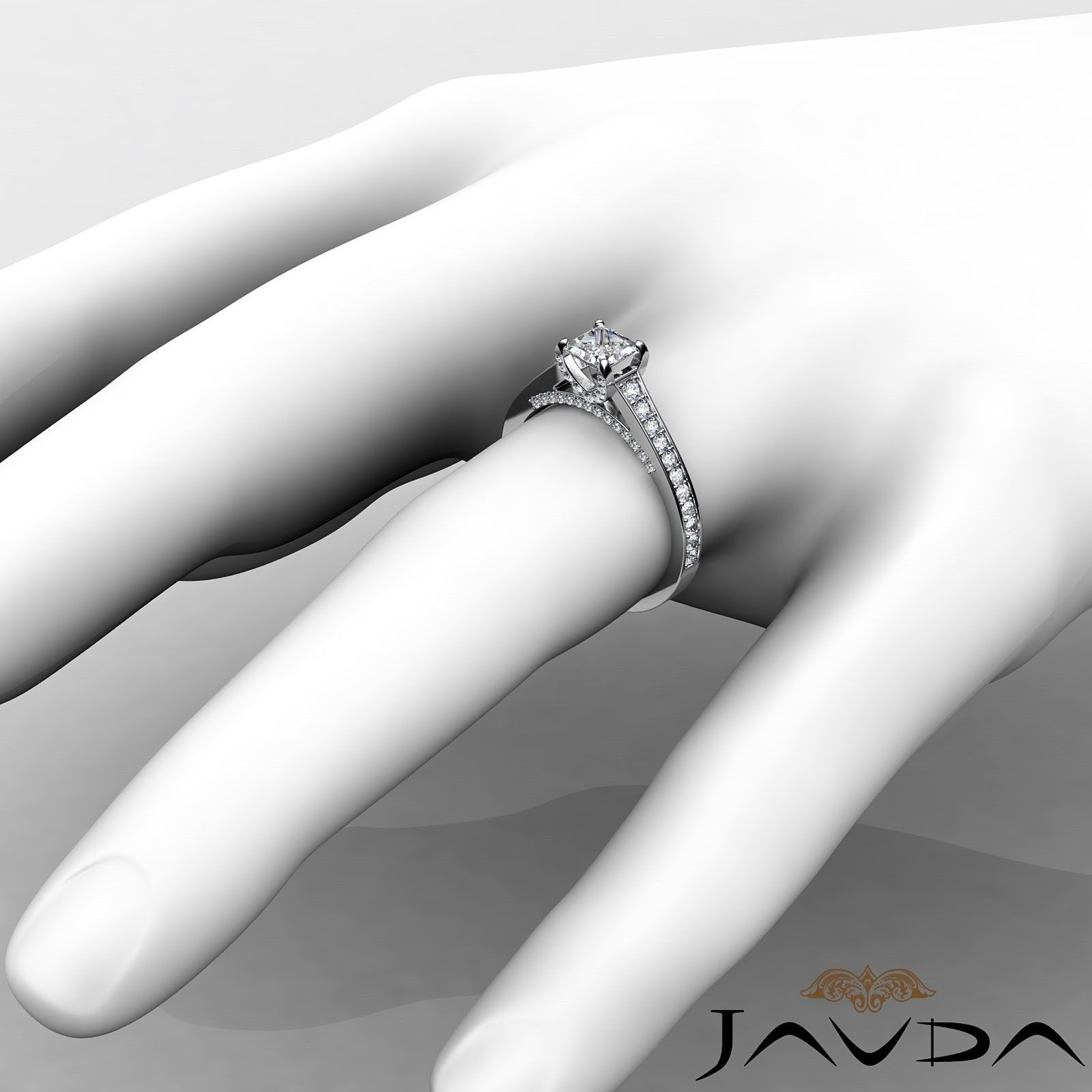 1.46ctw Tapered Pave Princess Diamond Engagement Ring GIA G-VS2 White Gold Rings 2