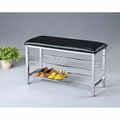 Metal Shoe Bench with Faux Leather Seat, Chrome and Black Black Modern & Contemp Metal Modern Bench