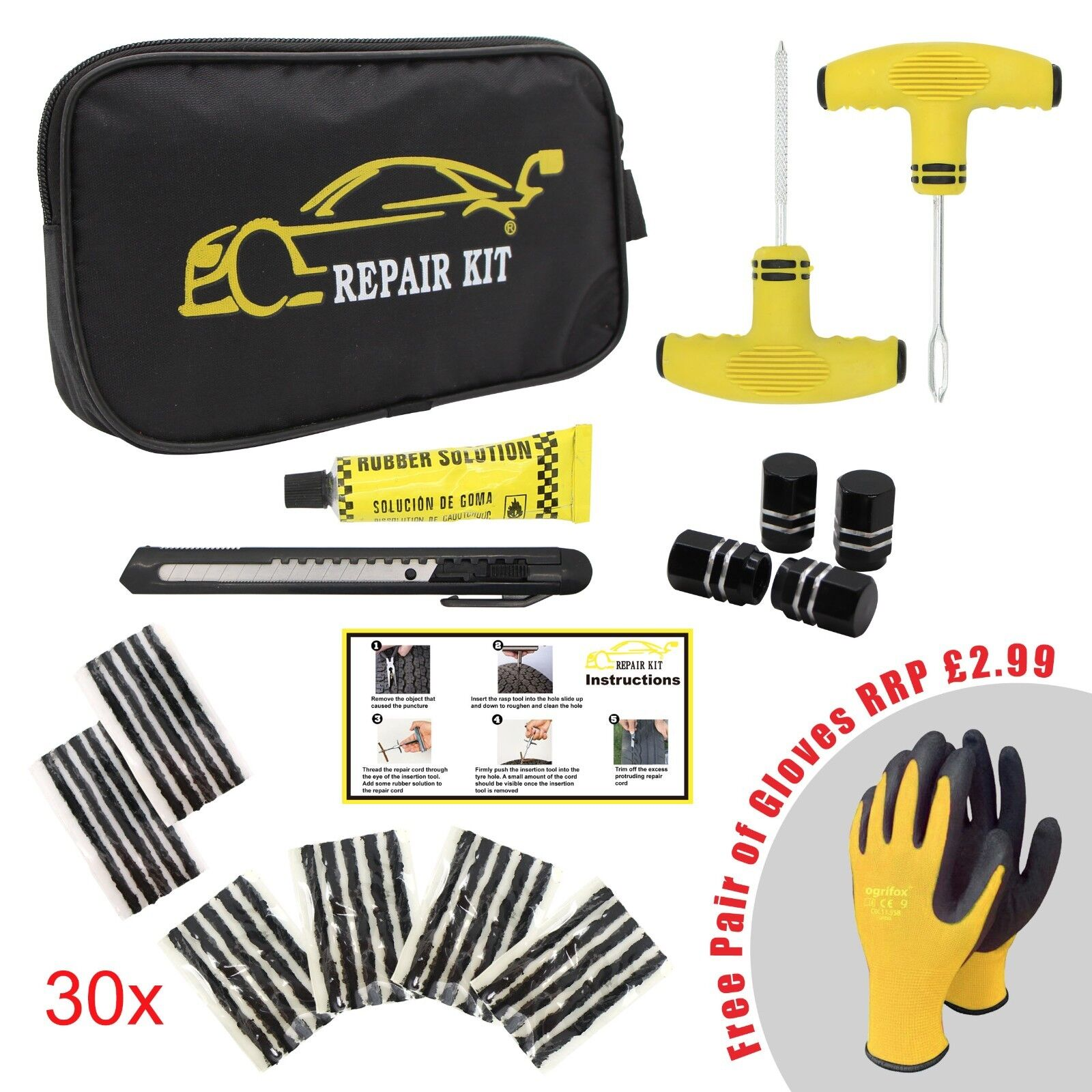 CAR VAN MOTORCYCLE TYRE TUBELESS PUNCTURE REPAIR KIT EMERGENCY TIRE KIT #02