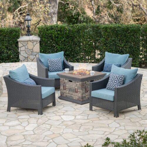 Andrew Outdoor 5 Piece Gray Wicker Chat Set with Stone Finished Fire Pit Home & Garden