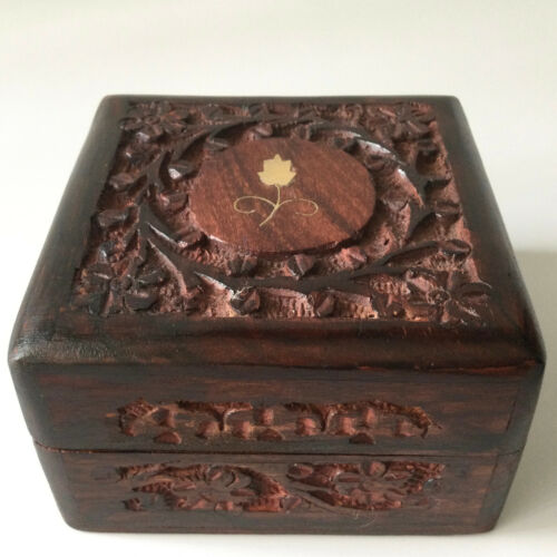 VTG Small Solid Wooden Box Jewelry Trinket Hand Carved Wood Floral Inlay India