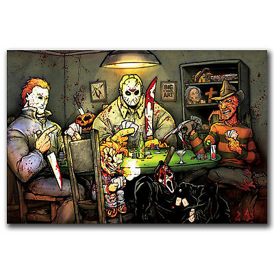 Michael Myers vs Jason Voorhees SLASHERS Horror Movie Pop Art Hot Poster N2838 - Michael Myers Vs Jason Voorhees