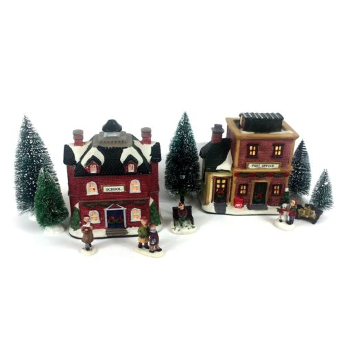 """Christmas Village with Figurines Light Up School  6"""" & Post Office 6"""""""