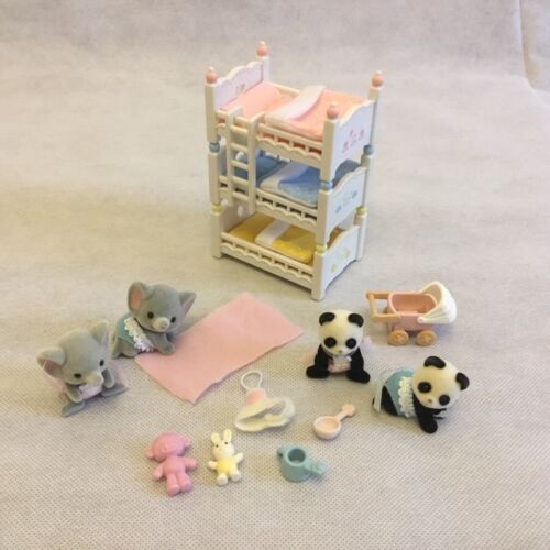 Calico Critters Triple Baby Bunk Bed twin panda elephant babies stroller lot