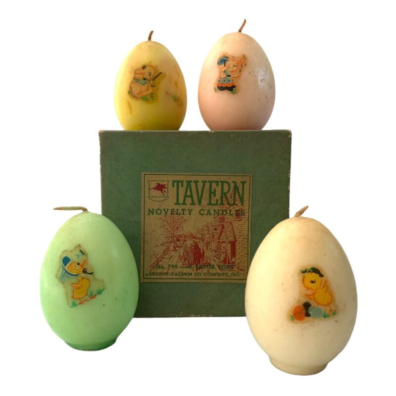 Vintage Tavern Candles Easter Egg Set Of 4 In Box #795 Novelty Antique