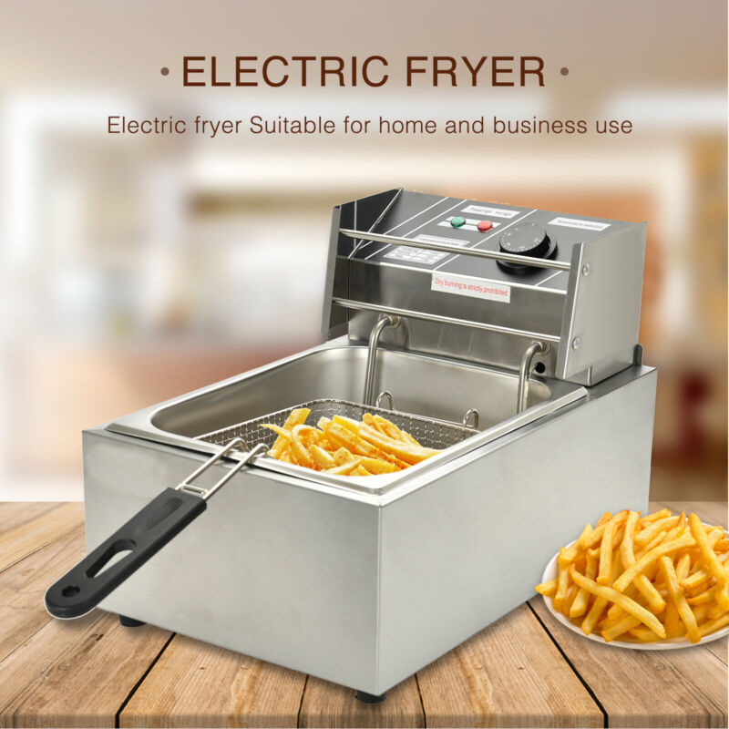 8L Commercial Electric Deep Fryer French Fry Home Bar Restaurant Tank w/ Basket