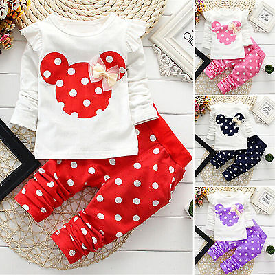 2PCS Baby Girl Minnie Mouse Bow Tracksuit Jumper Pants Autumn Clothes Outfit Set](Minnie Mouse Toddler Outfit)