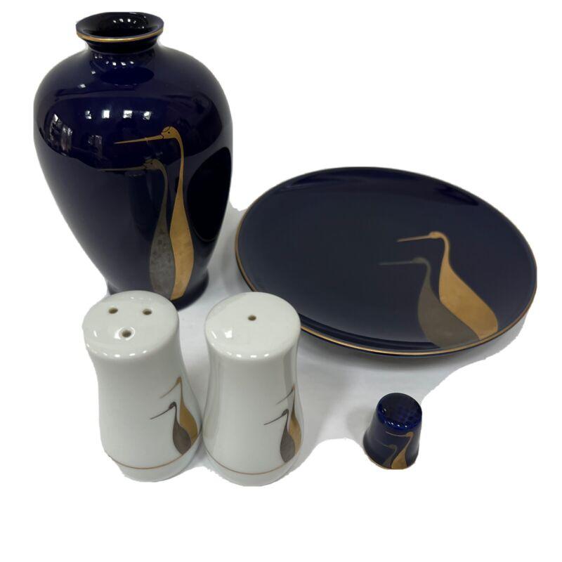 Vtg Fukagawa Gold Silver Cranes Fukagawa Arita Japan Vase, Plate, Thimble, S & P