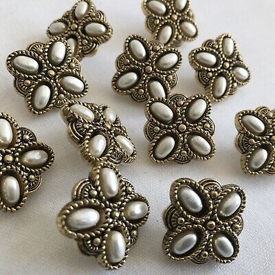 24 Vintage Ornate Square Brooch Style Buttons Gold Metal Pearl Christmas Sewing