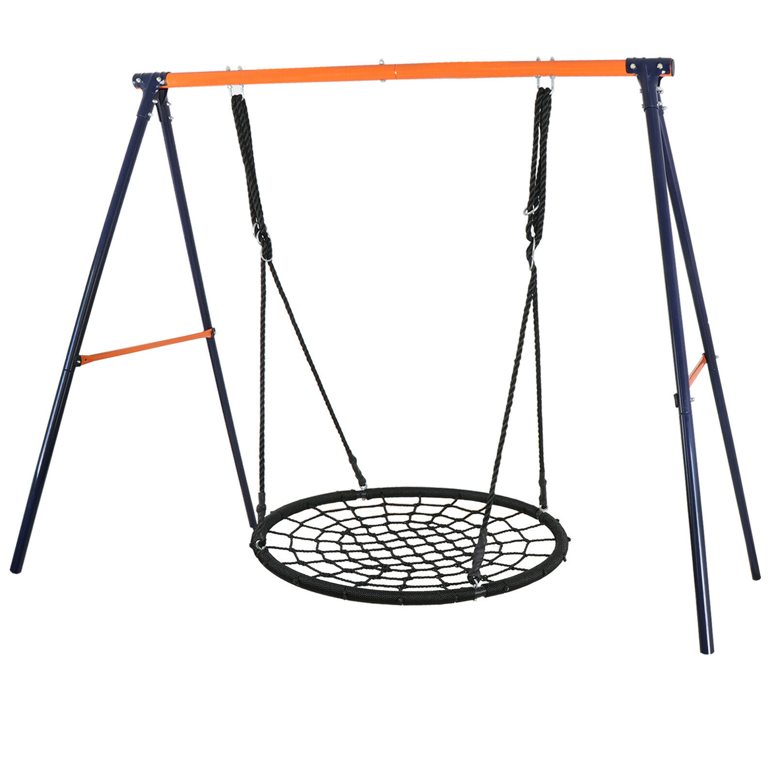 Yellow Powder-Coat Painted Steel Swing Frame + 40″ Spider Web Swing Max 600 lbs Outdoor Toys & Structures