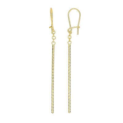 14kt Yellow Gold Diamond Cut Long Tube Bar Drop Dangle Earrings Euro Wire Clasp Cut Euro Wire Earrings