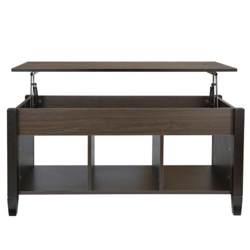 Lift Top Coffee Table with Hidden Compartment Storage Shelve