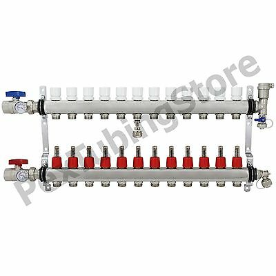 12-branch Pex Radiant Floor Heating Manifold Set - Stainless Steel For 12 Pex