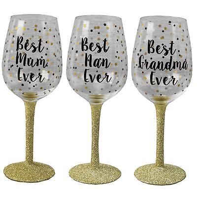 Celebration Gift Boxed Dotty Wine Glass with wording - Choose Design ()