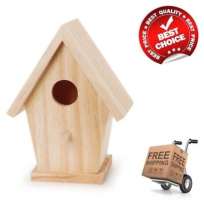 1-Hole Natural Wood Birdhouse 5-3/4-Inch Bird House