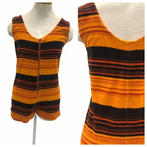 Vintage VTG 1960s 60s Orange Stripe Striped Terrycloth Playsuit Romper