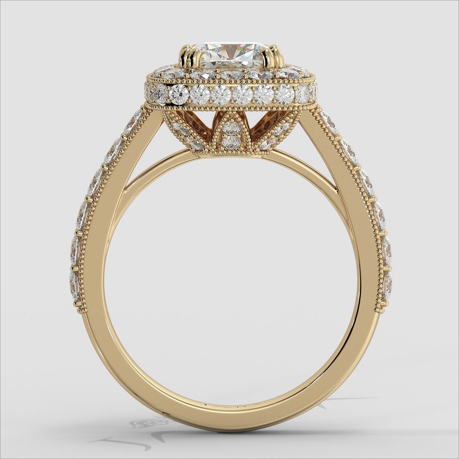 2ctw Milgrain Halo Floral Basket Cushion Diamond Engagement Ring GIA H-VS2 Gold 10