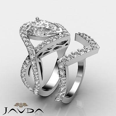 Cross Shank Pave Bridal Pear Diamond Engagement Filigree Ring GIA I VS2 2.4 Ct