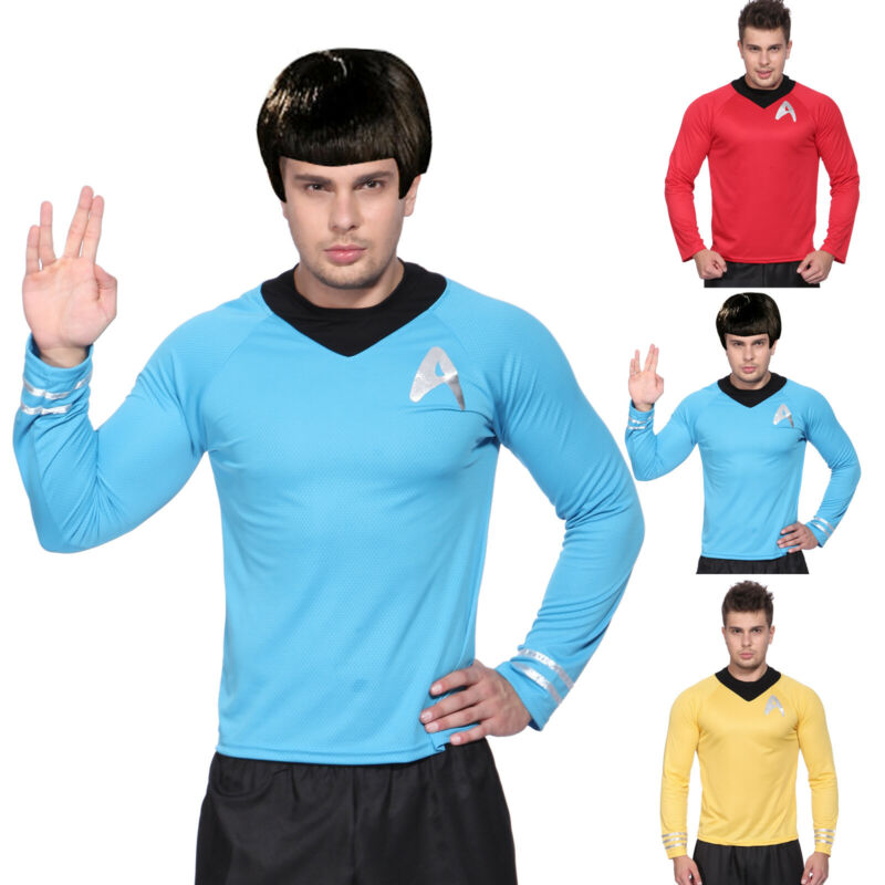 Mens Star Trek T-Shirt Top Blouse Captain Scotty Kirk Spock Sci Fi Fancy Dress